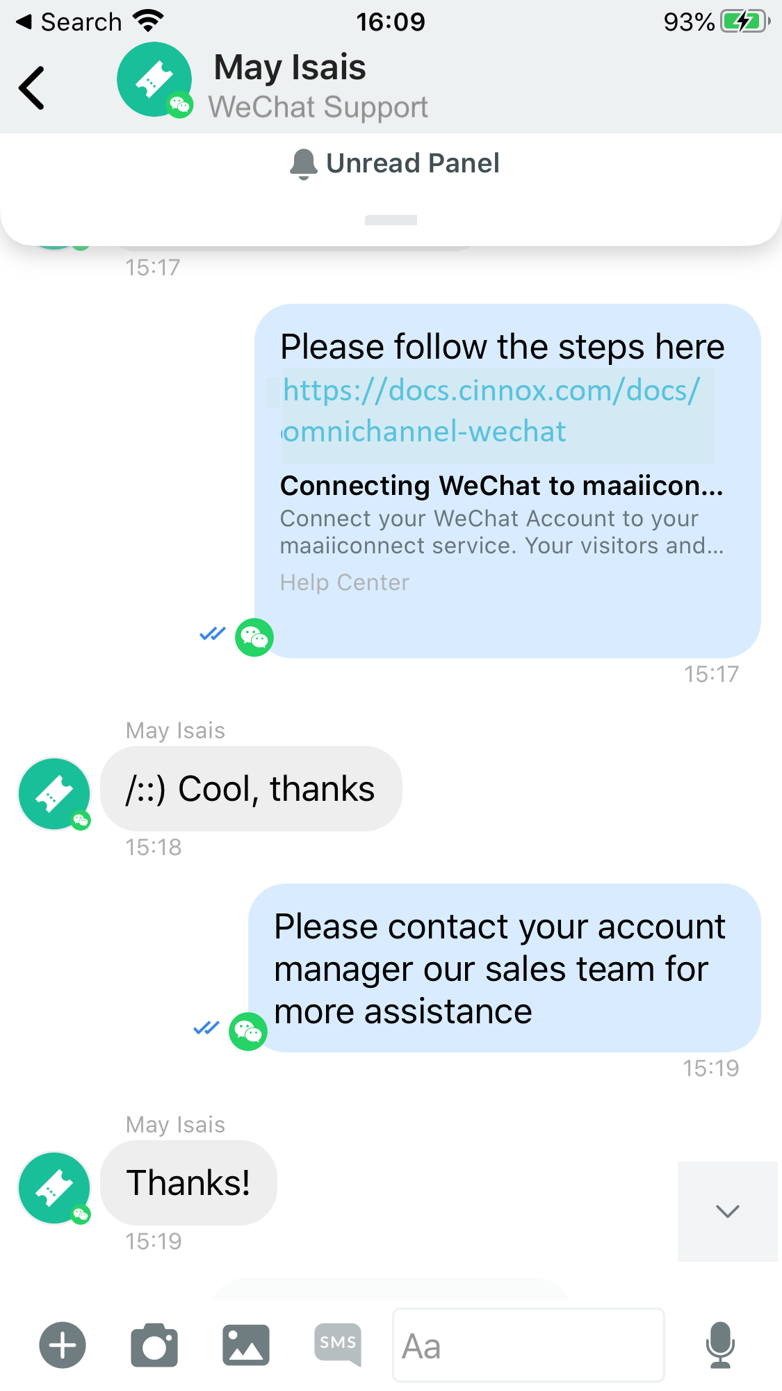 WeChat Visitor and Agent Chat Conversation