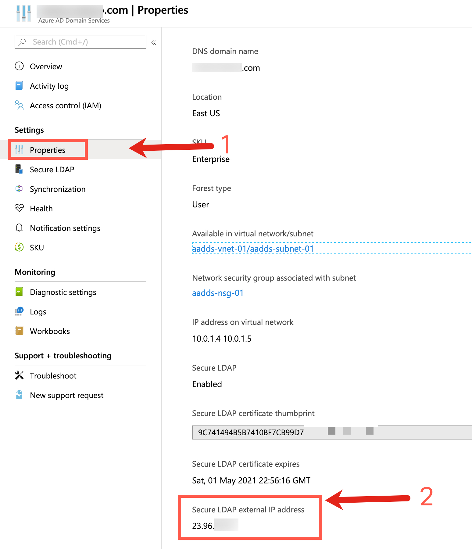 Example steps to show how to find the Secure LDAP external IP address for your Azure AD DS instance.
