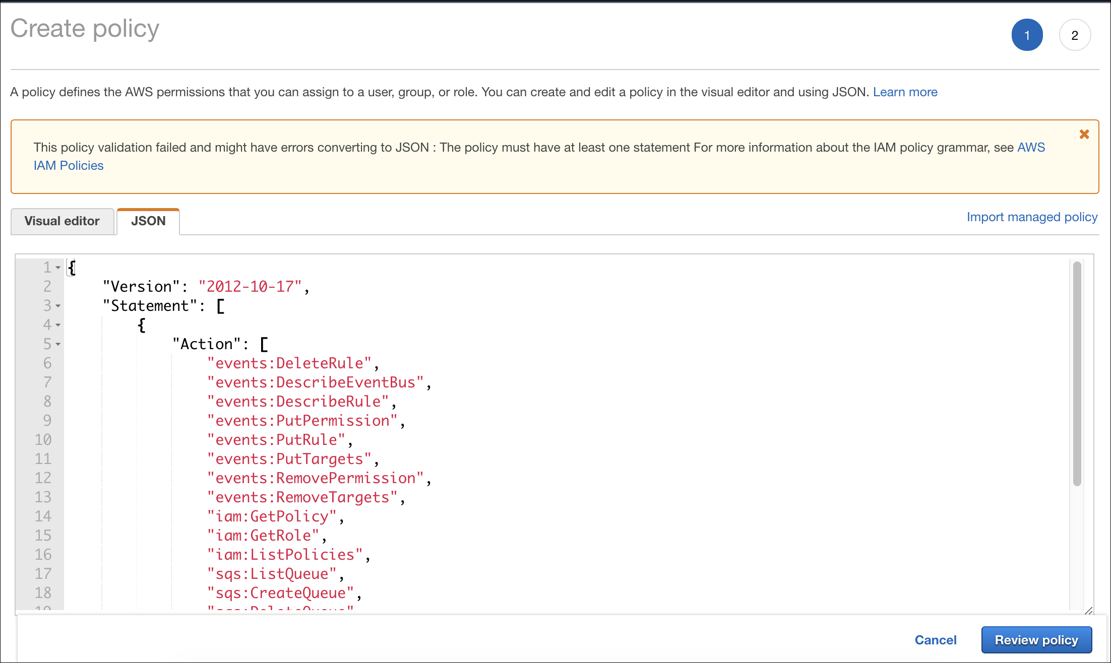 Create Policy in AWS