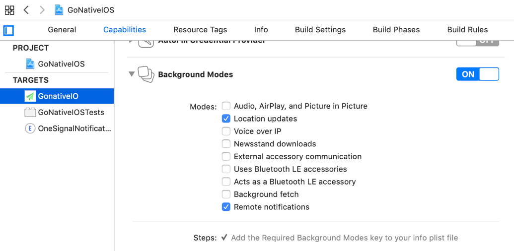 For iOS, add the Location updates under Background Modes in Xcode. Apple changes these options frequently, please let us know if they are different.