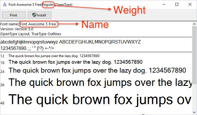 Windows Font Name & Weight