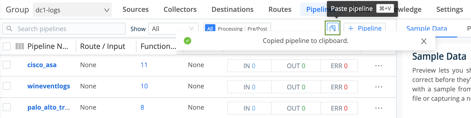 Paste button for copied Pipeline