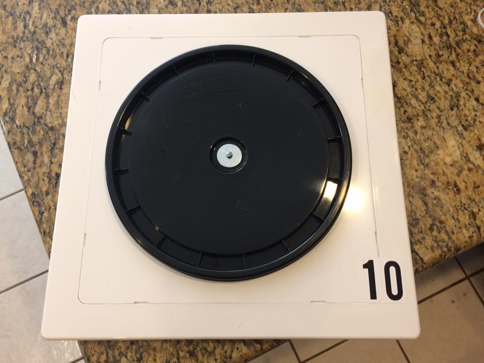 "A fantastic DIY approach we have seen is a 12"" bucket lid stuck on a white plastic 14x14 access panel from Home Depot"
