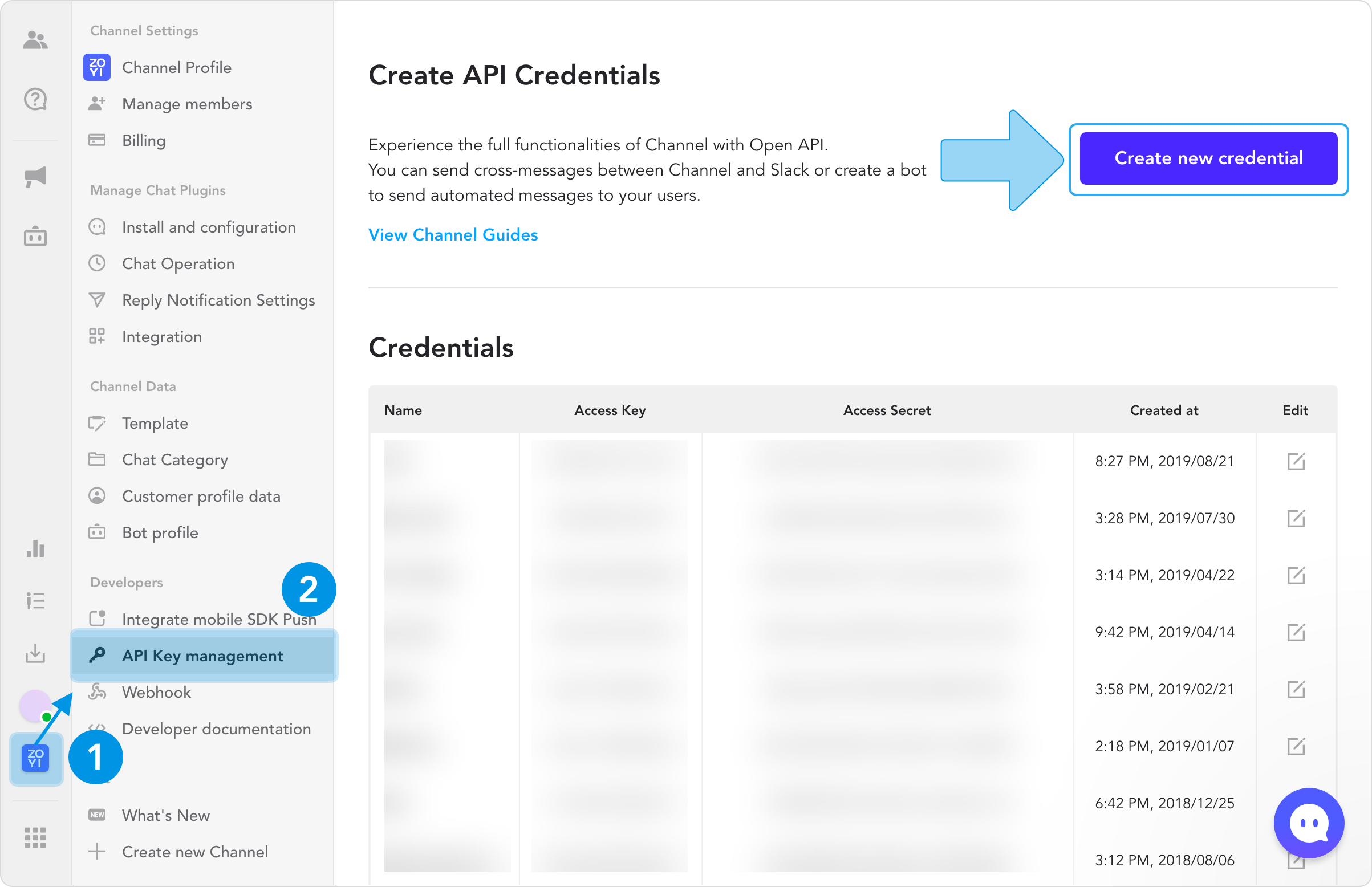 `Settings` > `API Key management` > `Create new credential`