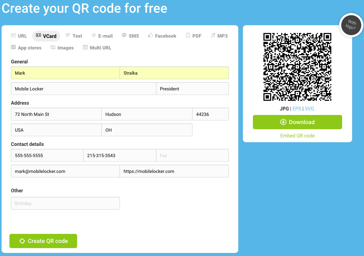 It's really easy to generate QR codes