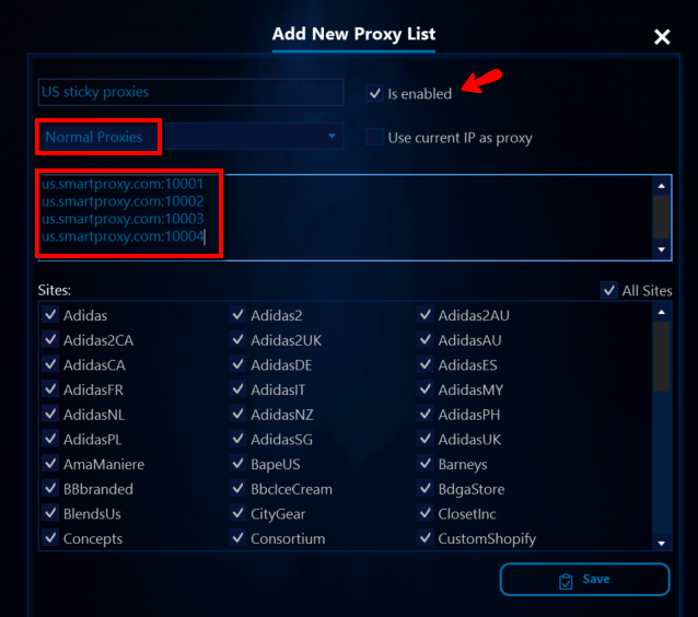 AIO Bot proxy list with whitelisted IP