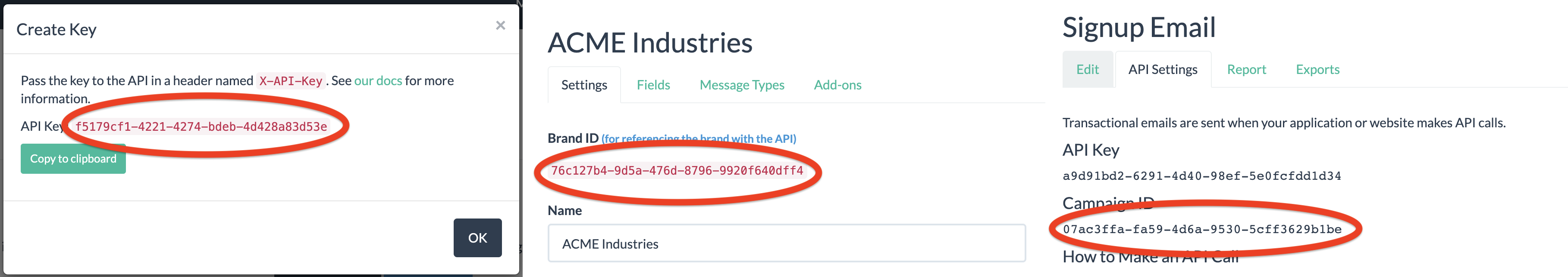 Location of the API key, brand ID, and campaign ID