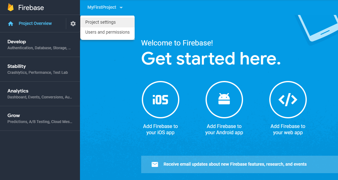 Figure 6: Add Firebase to web app