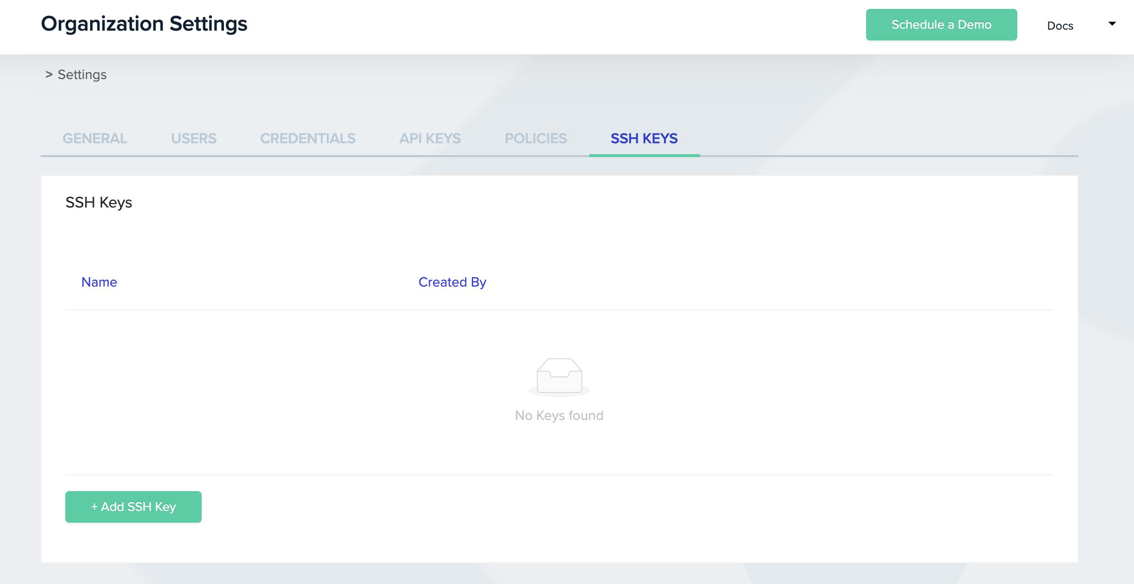 SSH Keys Screen