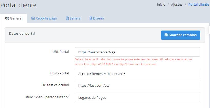 Configuración inicial del portal cliente.