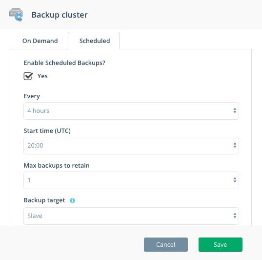Step 2: Default scheduled backup configuration