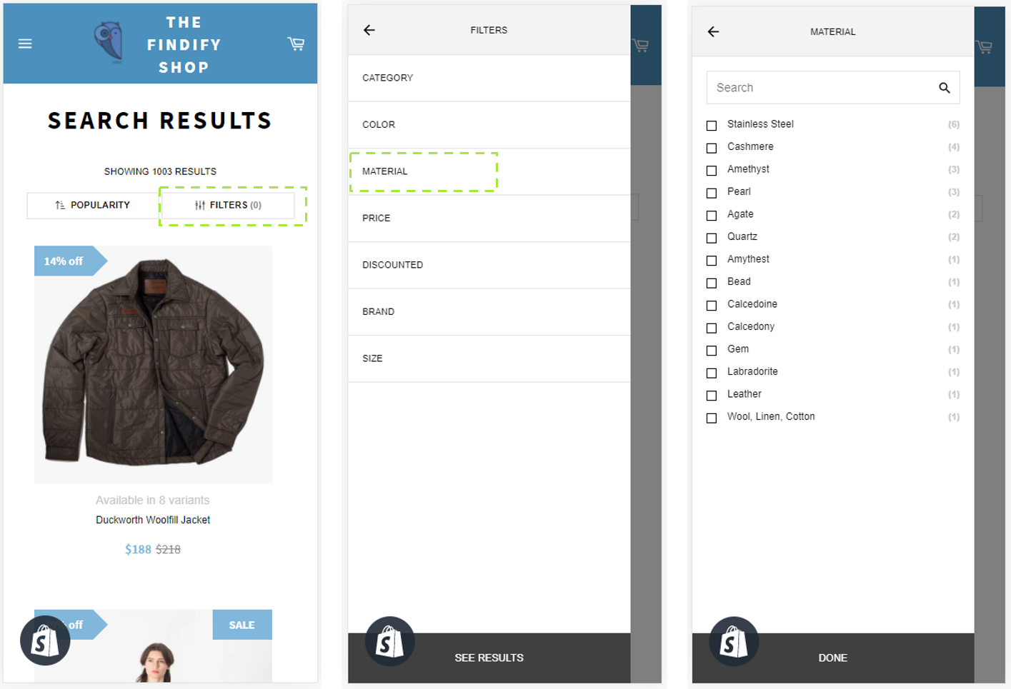 Findify filters on Mobile, here displayed with a Slide In - the most common option for mobile.