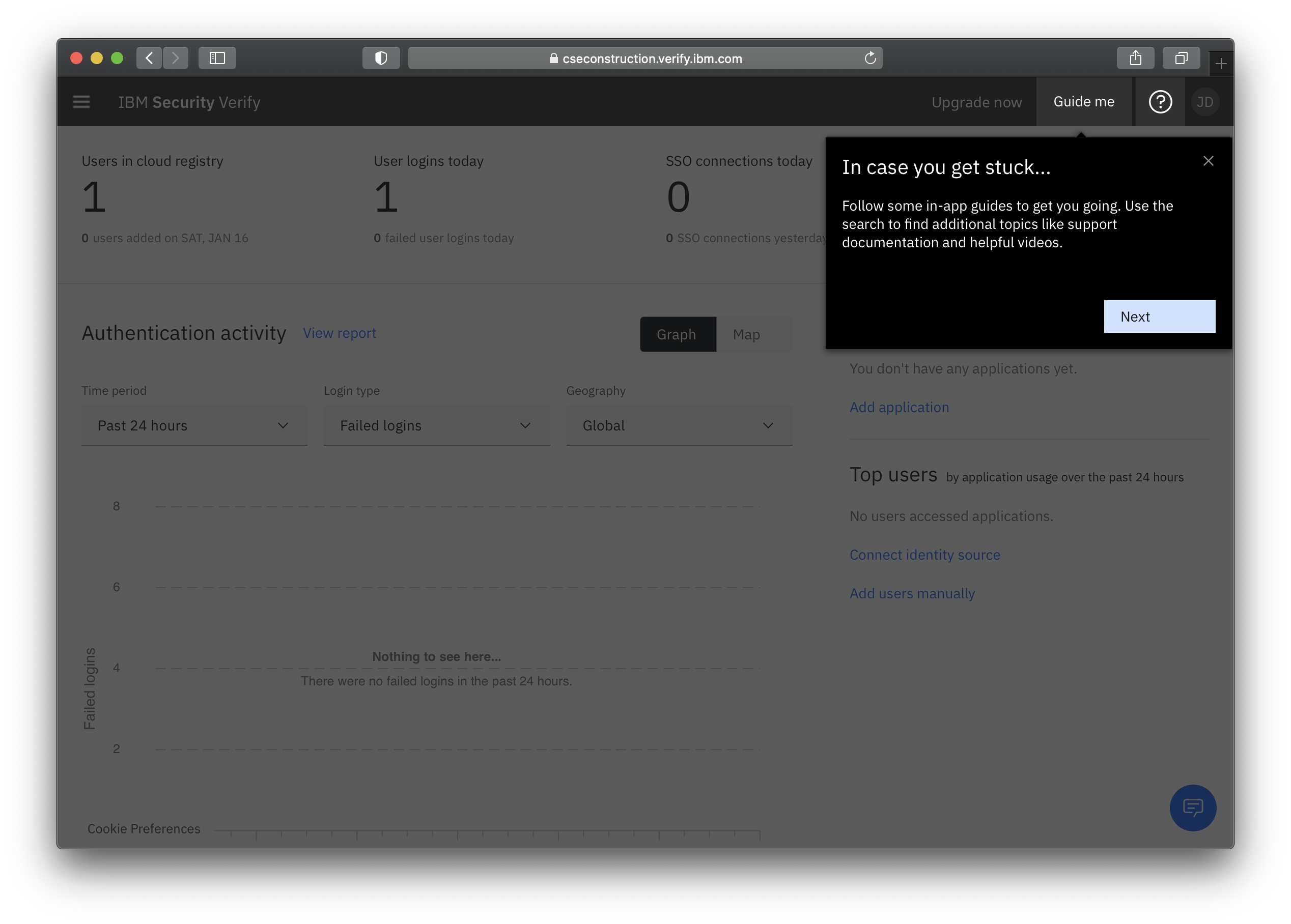 In-app guided tours for IBM Security Verify