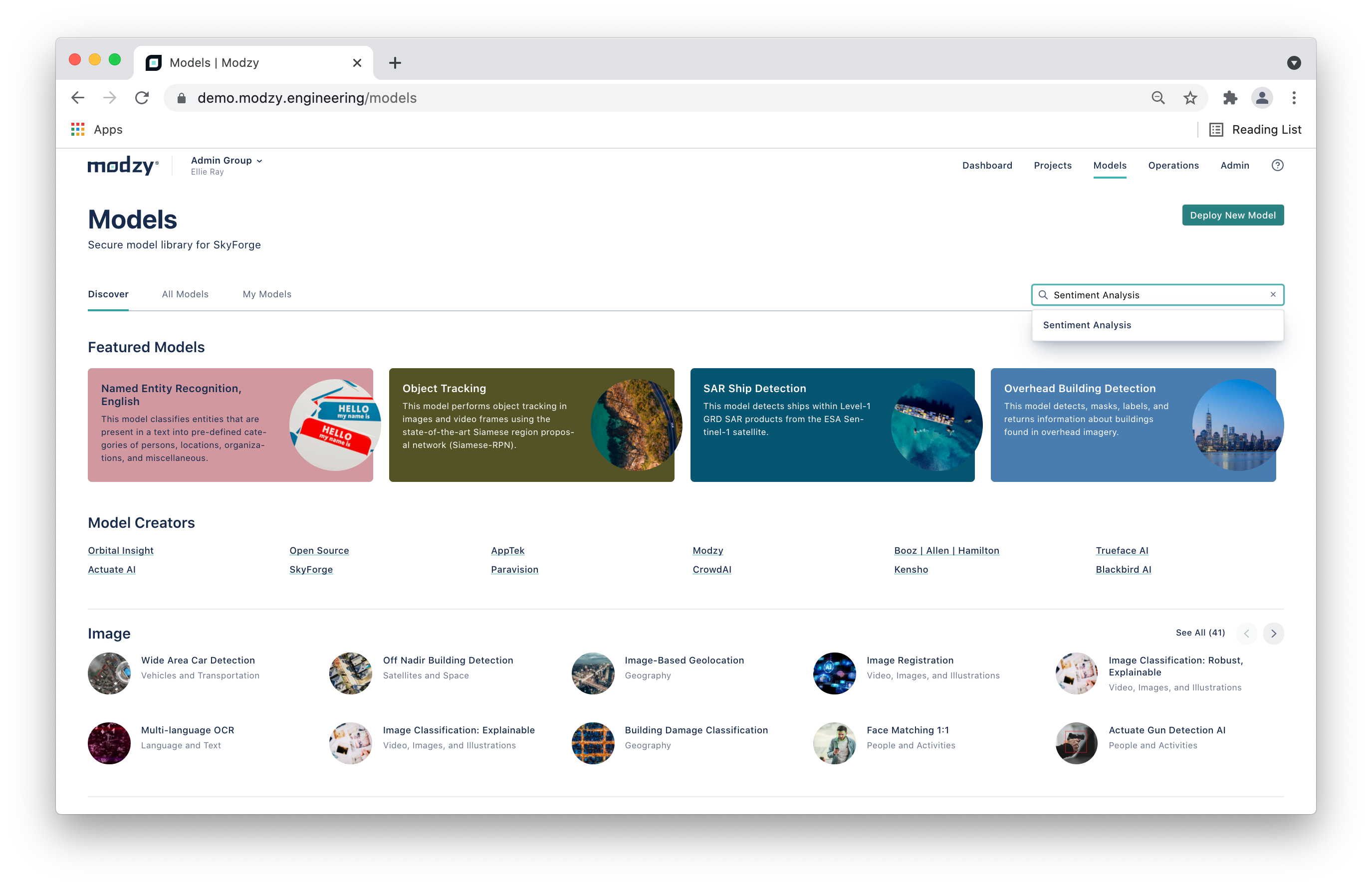 Model library, complete with search and filtering to support your unique use case