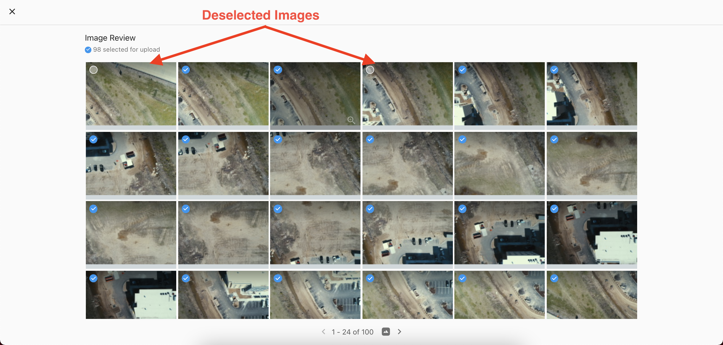 The Image Review Window allows you to view the images and deselect images.