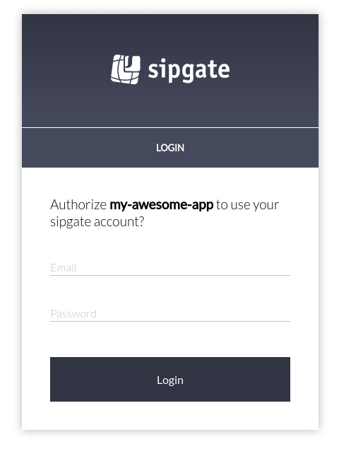 Send your users to `https://api.sipgate.com/v1/authorization/oauth/authorize?scope=<your_scopes>&response_type=code&client_id=<your_client_id>&redirect_uri=<your_redirect_uri>`. The user will be prompted to log into their sipgate account.