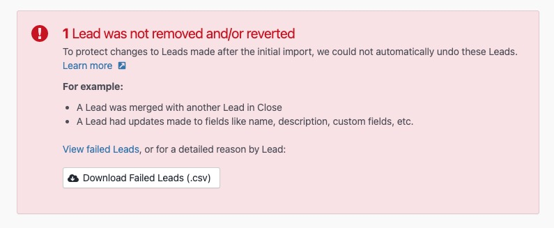 Lead was not reverted error