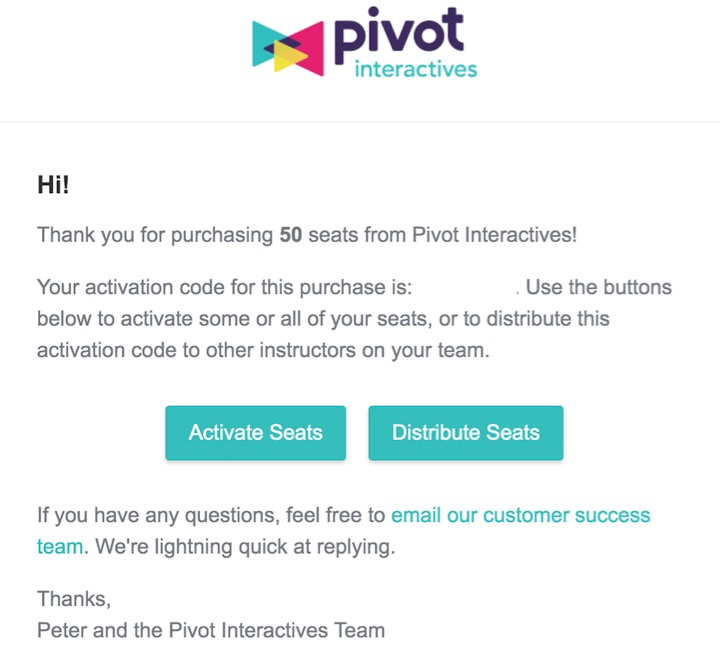 This is the email sent to the primary user of the Pivot Interactives account. Click ***Activate*** to add seats to your account, or click ***Distribute Seats*** to send the activation code to other instructors so they can add seats to their account.