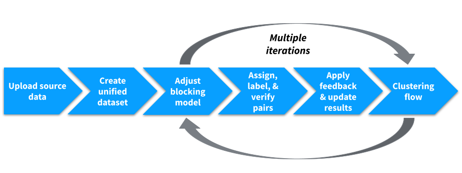 The iterative curation of record pairs allows Tamr to accurately classify all record pairs as a match or non-match.