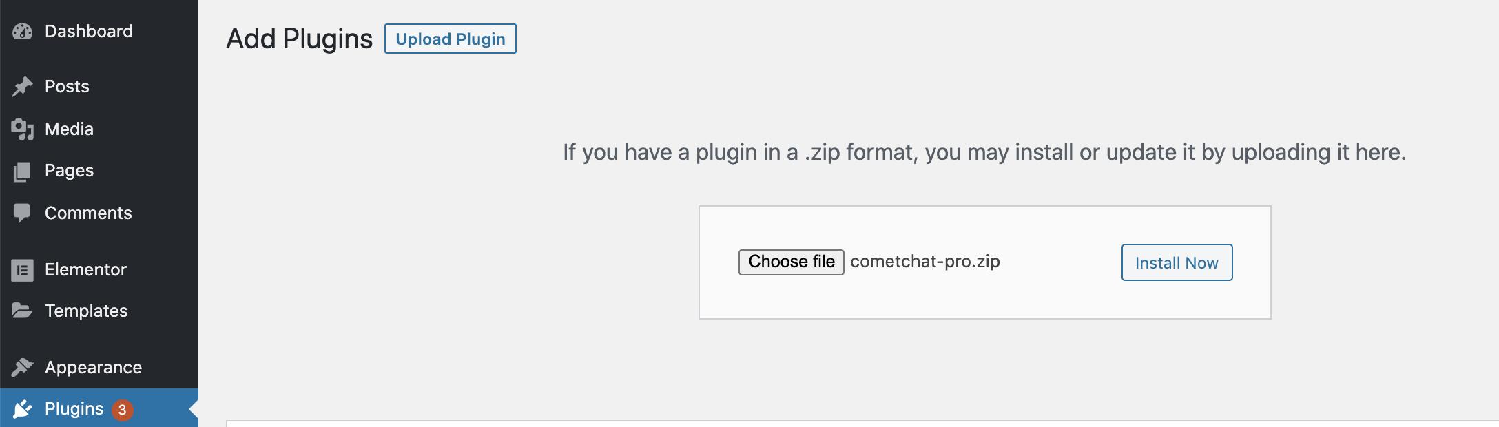 Upload Plugin > Choose File > Install Now