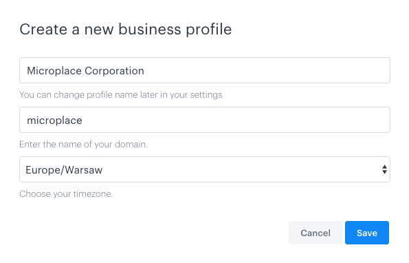 You can choose your timezone during creation of new business profile.