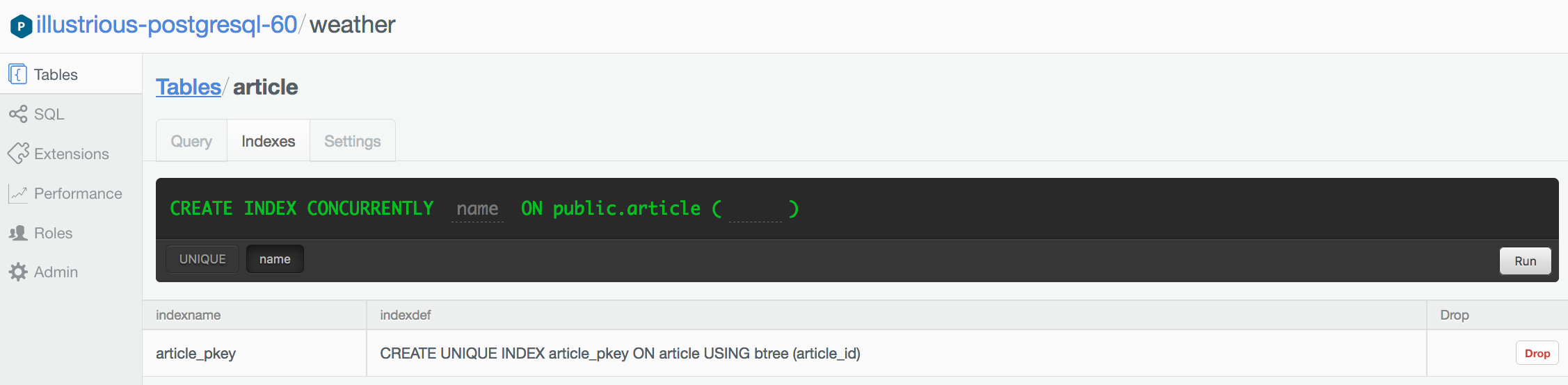 Running `CREATE INDEX` through the browser.