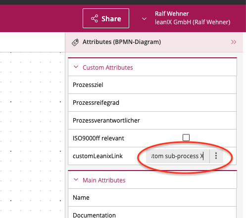 Setting a link to another process model using a custom attribute.