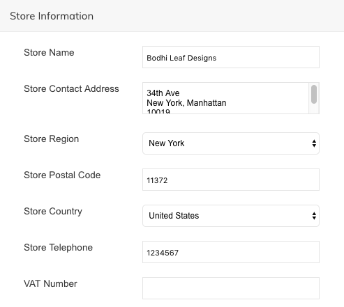invoices with different store address