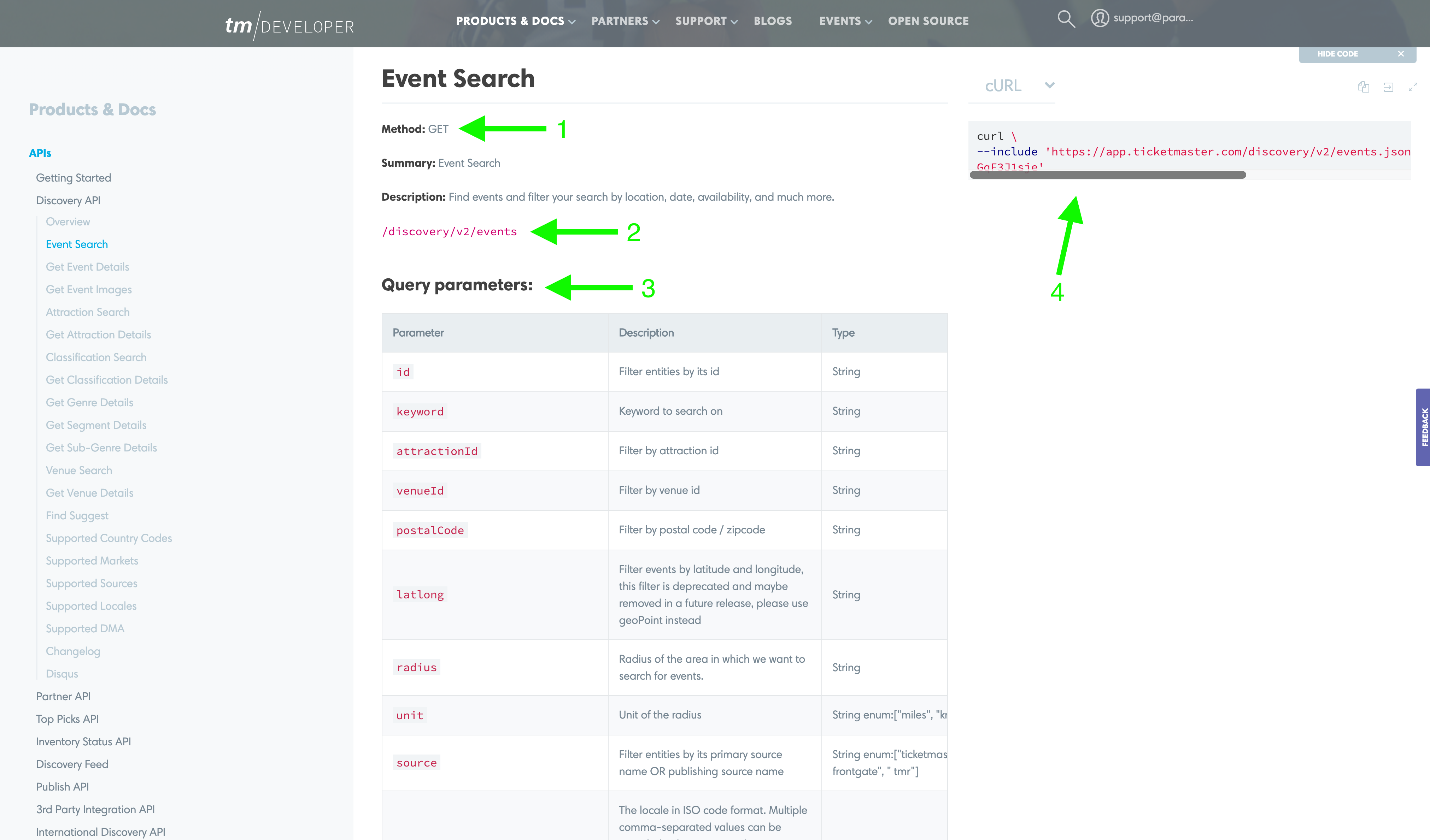 The Event Search endpoint detail page
