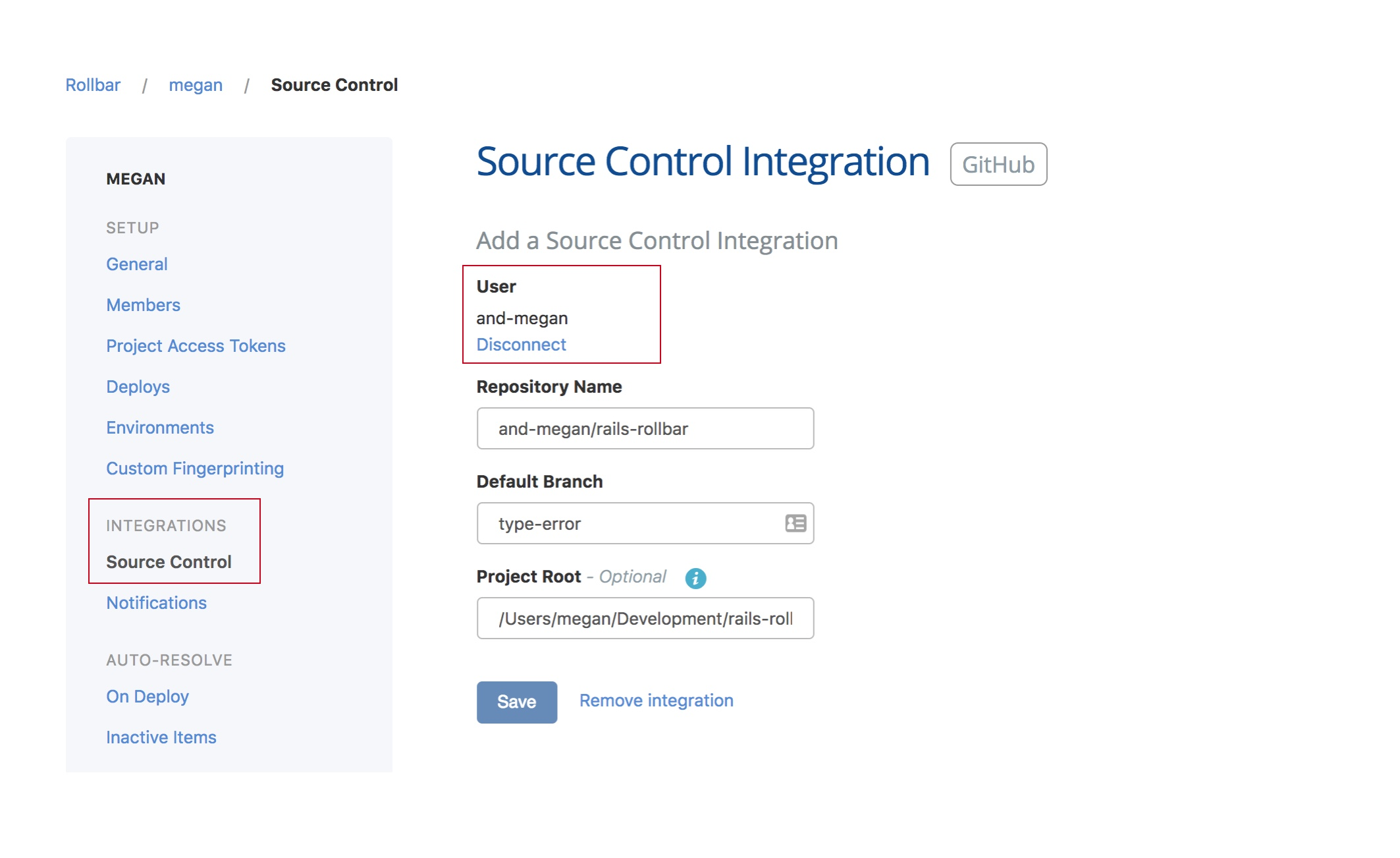 Project Settings - Integrations