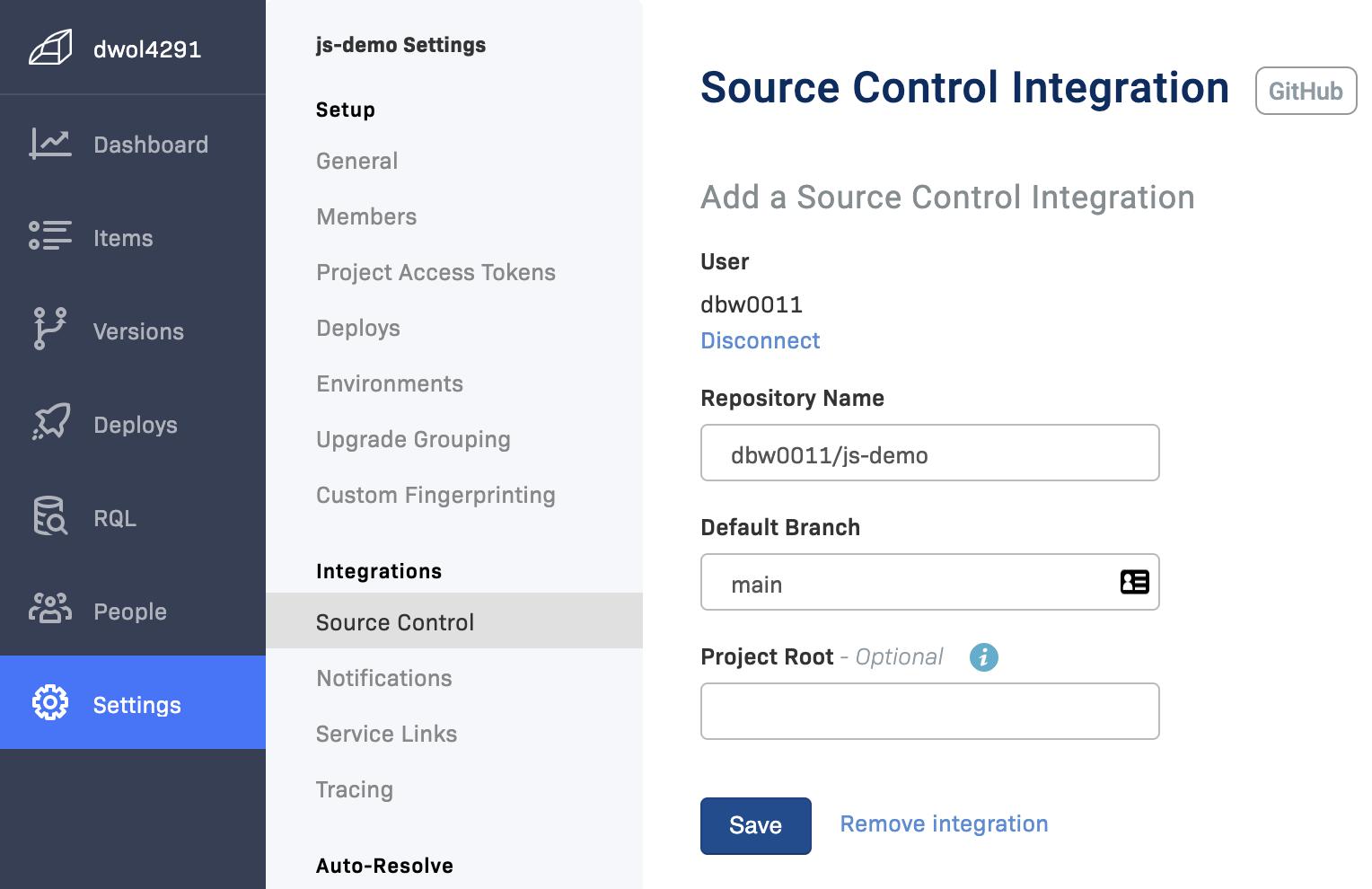 Project Settings - Integrations