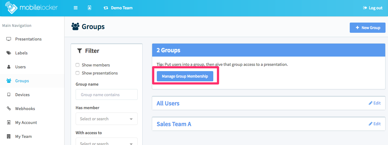 Click **Manage Group Membership** to make bulk changes.