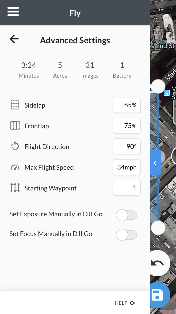 The Advanced Settings. Sidelap and frontlap are extremely important!