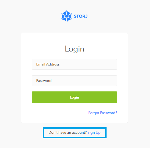 "*Figure 3.1. Bridge-GUI (app.storj.io) main Login window, click on ""Sign Up"".*"
