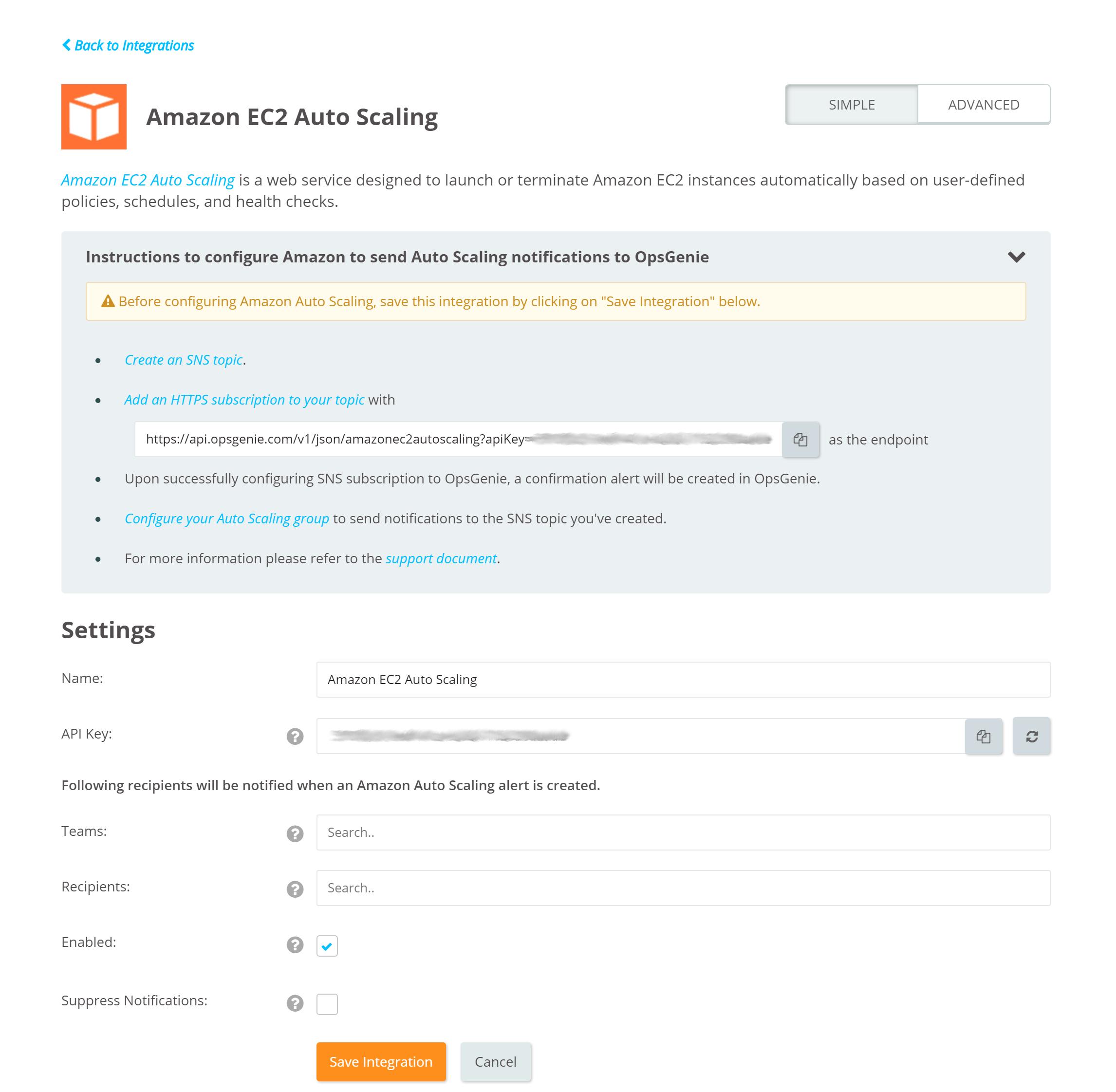 Amazon EC2 Auto Scaling Integration