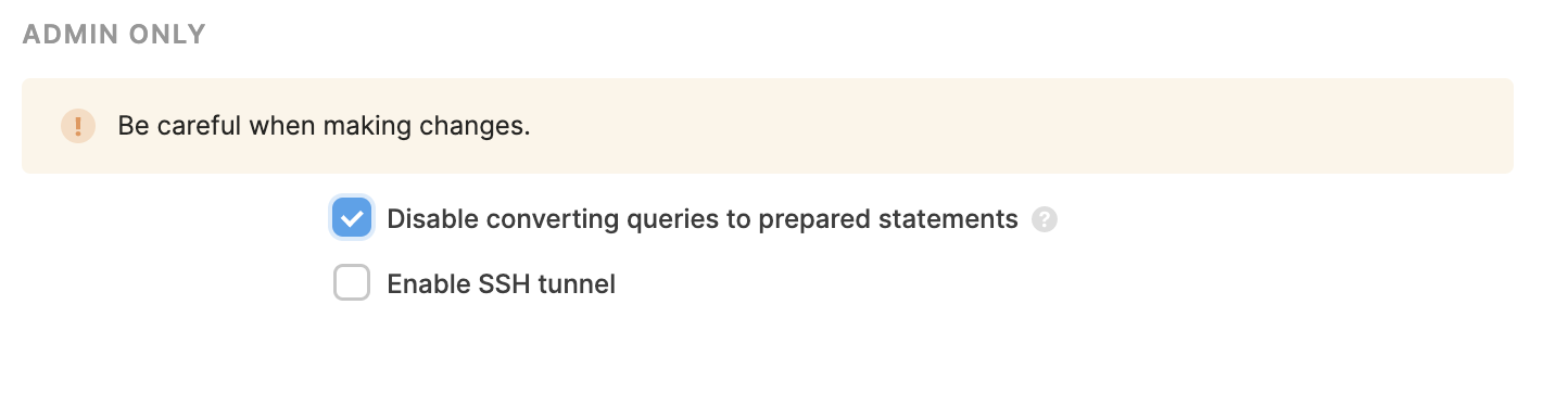 A screenshot of the disable prepared statements checkbox in a resource setup page