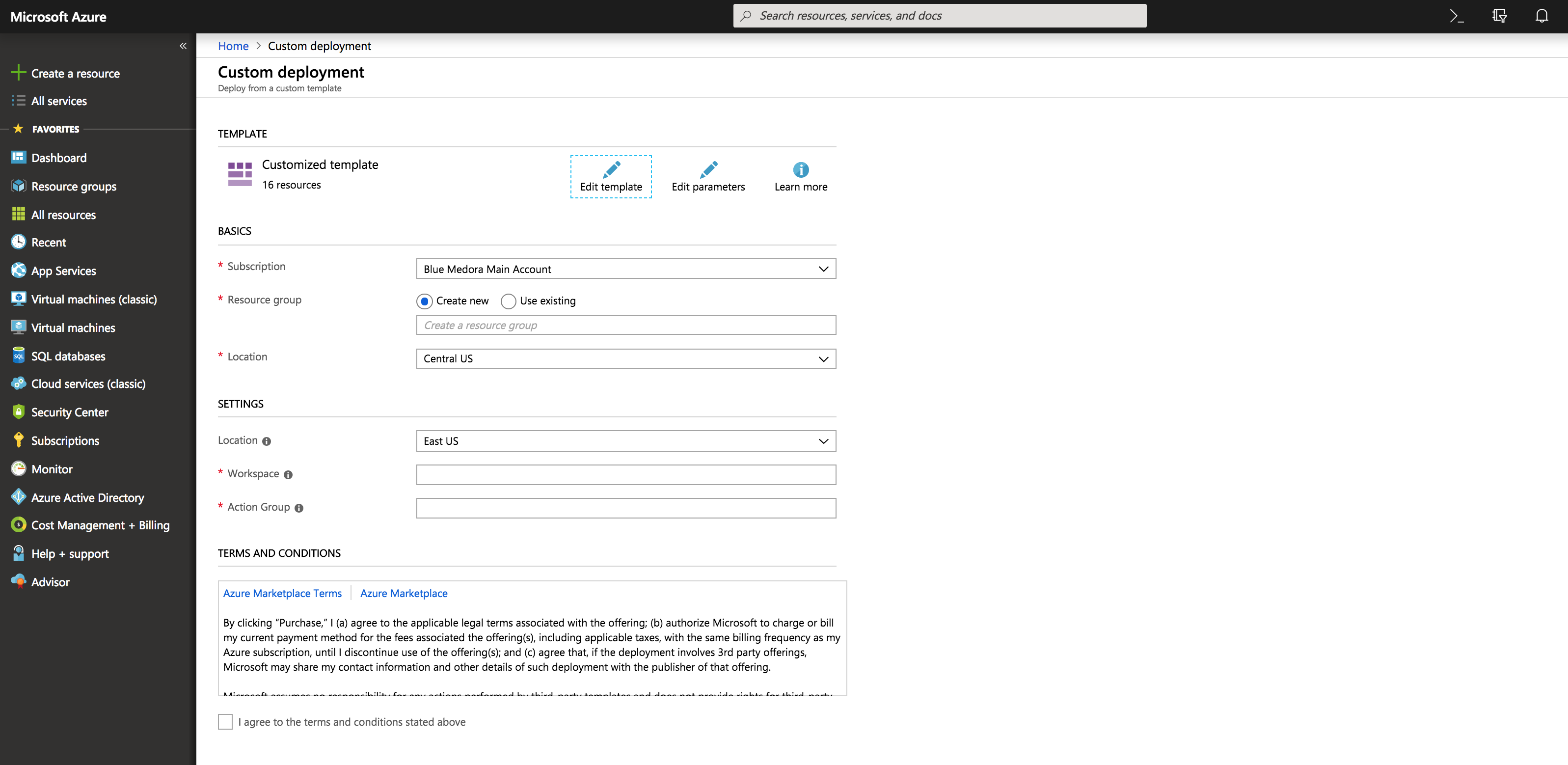 An example ARN template used for dashboard deployment