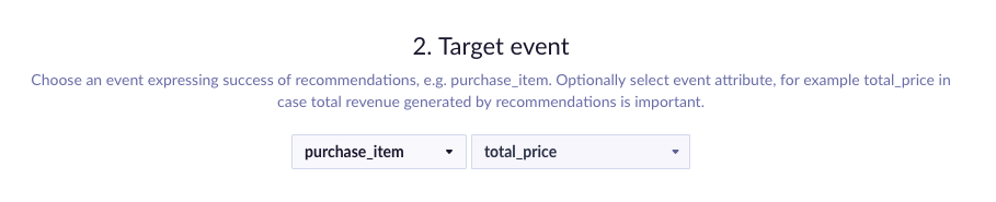 Example of target event picker set to total price of purchase events