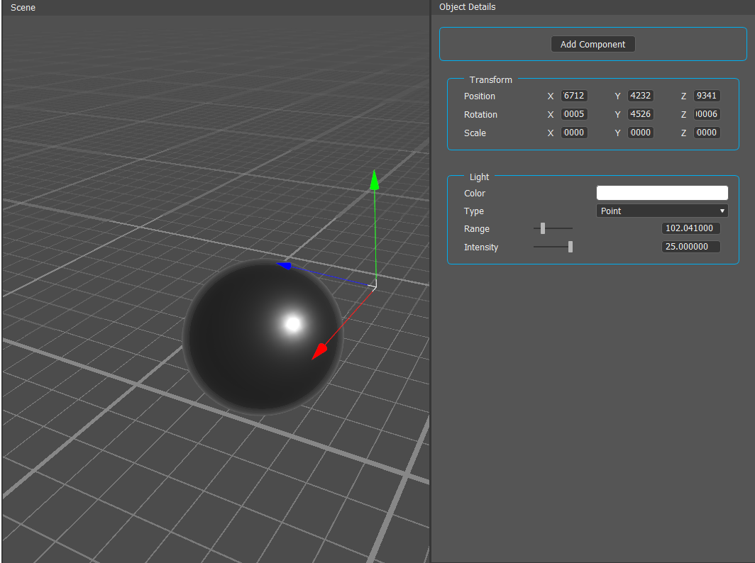 A point light, affecting all scene objects