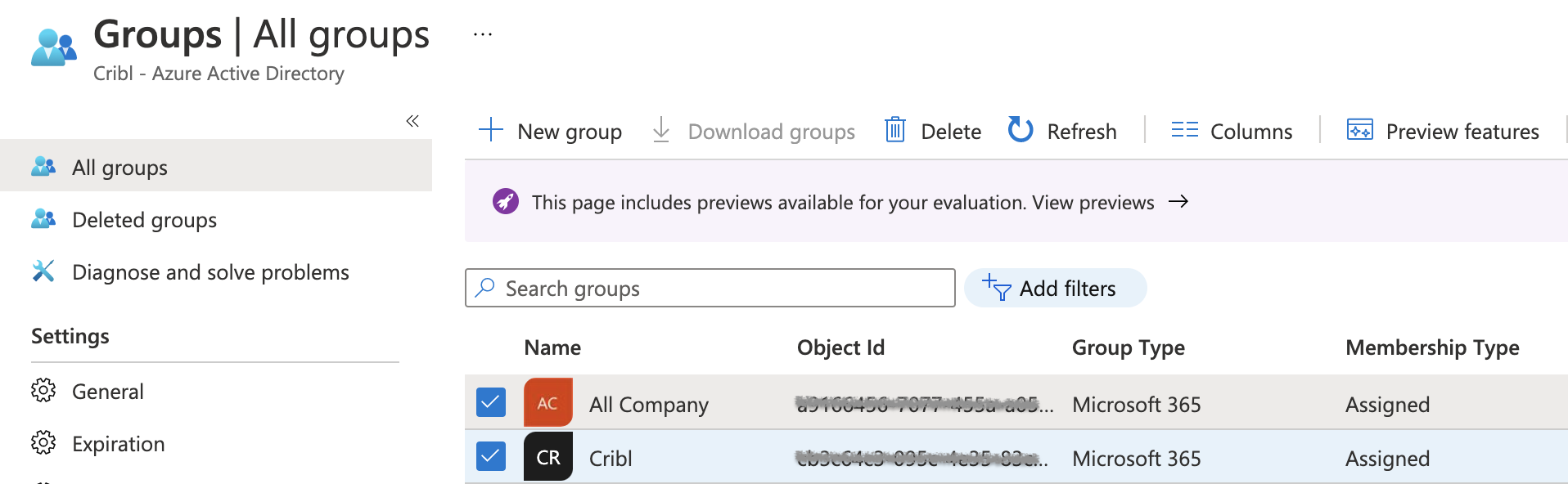 Azure AD groups...