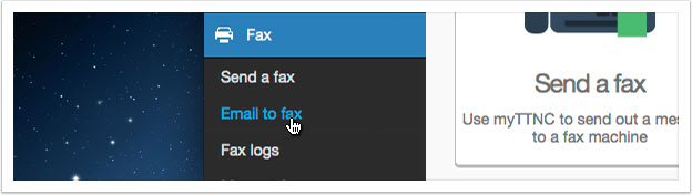 Click the 'Email to fax' link in the left hand menu