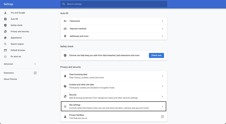 Main settings page, navigate to Site settings.