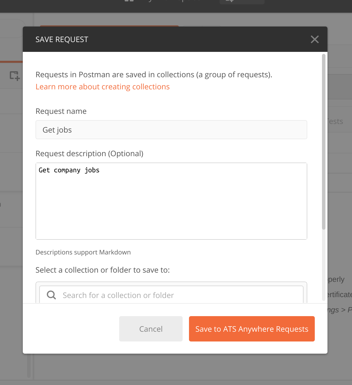 Create a request to get jobs.