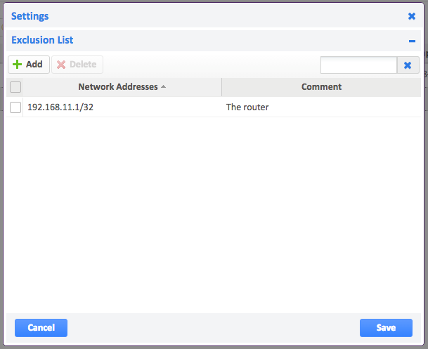 Exclusion list within 'Autodiscovery > Settings' with one IP address added