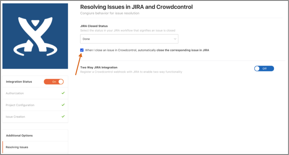 Checkbox enabling Crowdcontrol to JIRA link