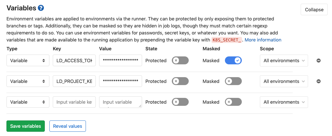 The GitLab Variables screen with masked `LD_ACCESS_TOKEN` and `LD_PROJECT_KEY` created.