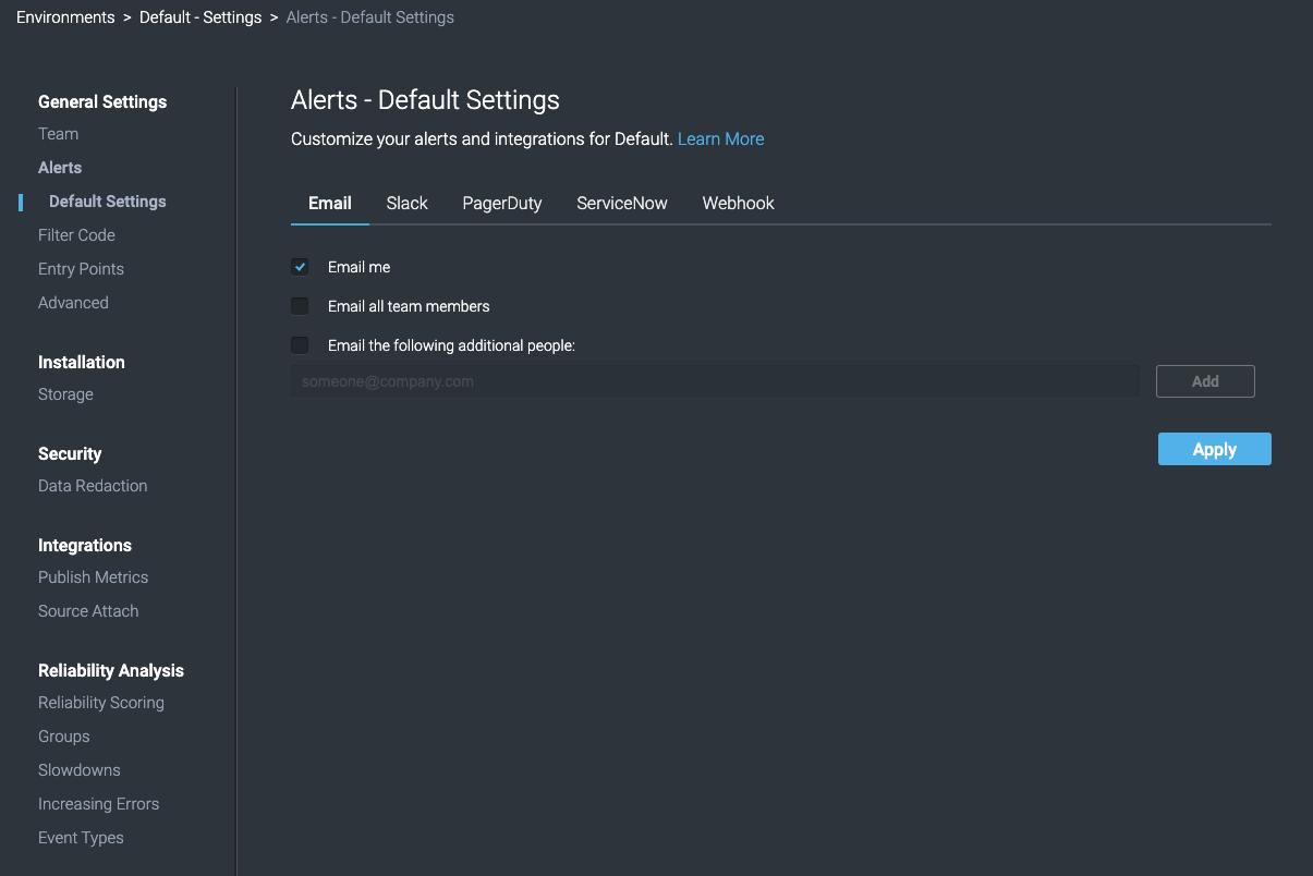 Alerts - Default Settings Window