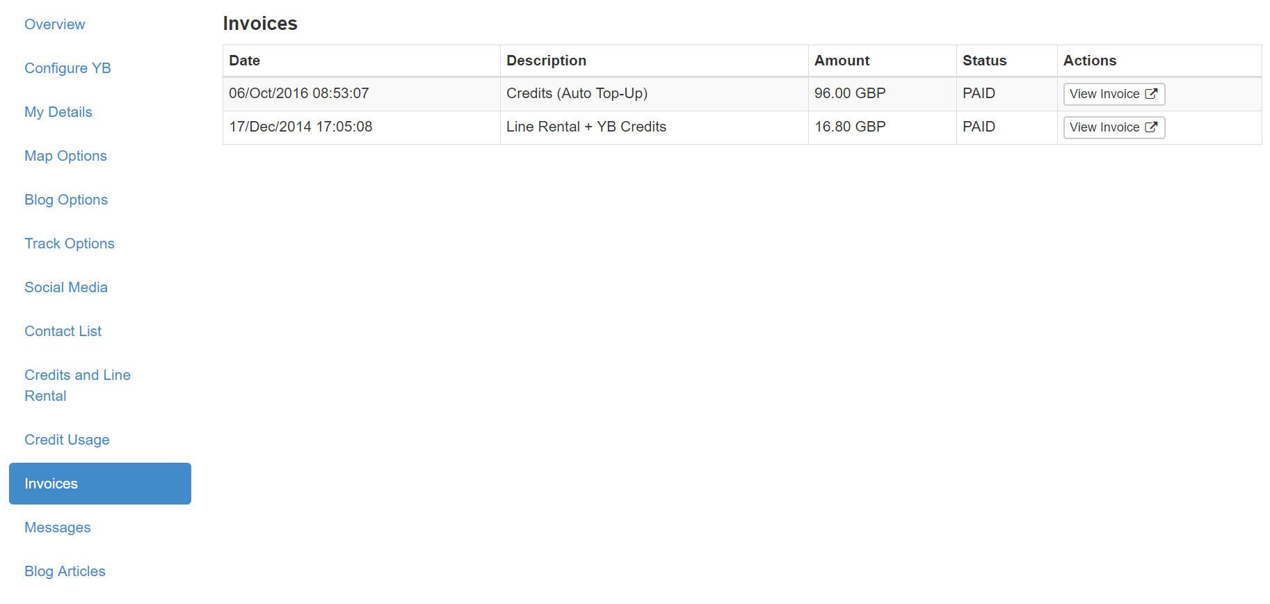 YBlog - Invoices