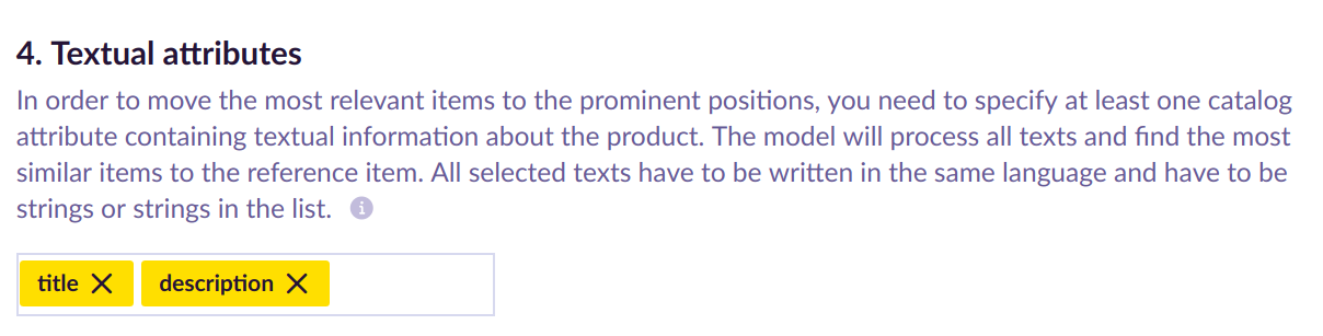 Example of Textual attributes picker