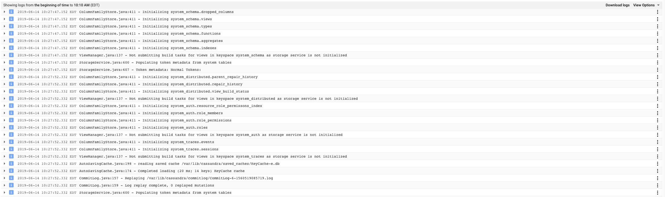 Apache Cassandra Startup Logs Example